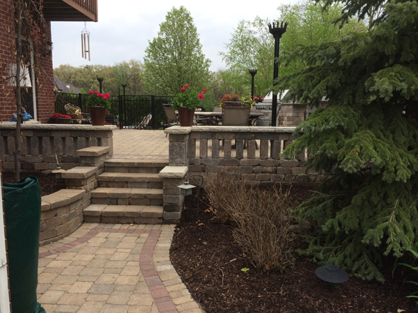 Paver Patio with Paver Railings
