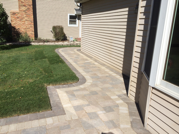Brick Paver Sidewalk Along House