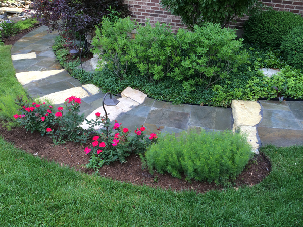 Curved Stone Paver Walkway