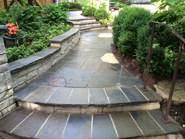 Stone Paver Walkway with Stairs