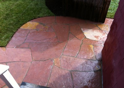 Red Natural Stone Paver Patio